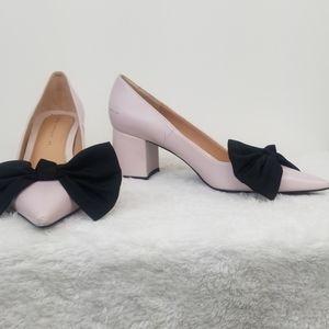 Zara Pink Block Heel Pointed Toe Bow Pumps